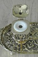 Fine William Tonks & Sons Brass Inkwell Registered Diamond for 1883 Double Inkstand (9 of 10)