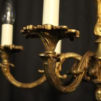 French 6 Light Gilded Bronze Early 20th Century Antique Chandelier (4 of 10)