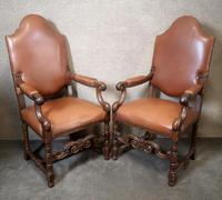 Large Pair of Oak & Leather Armchairs (8 of 11)