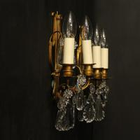 French Pair of Gilded Twin Arm Wall Lights (10 of 10)