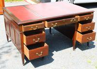 1920s Mahogany Partners Desk with Red Leather on Top (3 of 6)