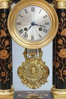French Ebonised and Inlaid Portico Mantel Clock (3 of 10)