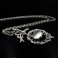 Antique Paste Bow Sterling Silver Drop Pendant and Chain Necklace (8 of 9)