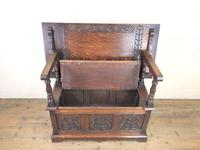 Antique Carved Oak Monk's Bench (3 of 10)