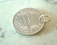 Vintage Pocket Watch Chain Fob 1959 Lucky Silver One Shilling Old 5d Coin Fob (7 of 8)