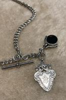 Victorian Silver Double Albert, with t-bar, fob and swivel fob. (2 of 4)