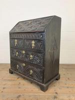 Antique Carved Oak Bureau (10 of 14)