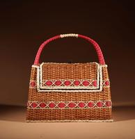 Art Deco Very Stylish Woven Wicker Willow Bag (3 of 7)