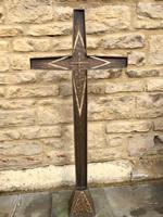 French Bronze Altar Cross Crucifix on Slate Stone Base (2 of 9)