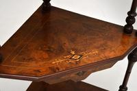 Antique Victorian Walnut Inlaid Corner Whatnot (14 of 15)