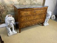 19th Century Burr Walnut Commode with Grey Marble Top (4 of 4)