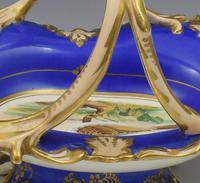 Fine & Large Alcock Rococo Porcelain Ornithological Basket c.1845 (17 of 17)