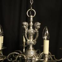 French Silver Gilded Cherub 8 Light Antique Chandelier (6 of 10)