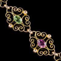 Antique Edwardian Padlock Bracelet 9ct Gold Garnet Peridot c.1902 Ernst Gideon Bek Boxed (4 of 8)