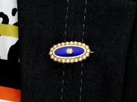 0.29ct Diamond, Seed Pearl & Enamel, 15ct Yellow Gold Brooch - Antique Victorian (9 of 9)