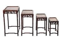 Chinese Hardwood Carved Quartetto Nest of Tables c.1900 (2 of 7)