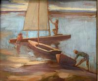 Lubbock - Summer Boating - Oil on Board (2 of 2)