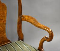 Queen Anne Style Burr Walnut Table & Chairs c.1920 (9 of 22)