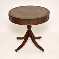Antique Regency Style Mahogany Leather Top Drum Table