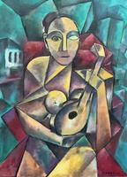 Original 20th Century Continental Abstract Cubism Style Portrait Oil Painting (3 of 11)