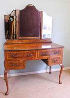 Burr Walnut Queen Anne Style Triple Mirror Dressing Table (8 of 13)