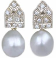 Art Deco Pearl & Diamond Drop Earrings 18ct Gold & Plat Antique 1920's Earrings (9 of 9)