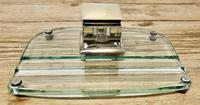 Art Deco Glass and Brass Desk Inkwell with Pen Rest (4 of 8)