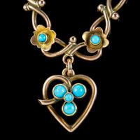 Antique Victorian Turquoise Heart Forget Me Not Bracelet 9ct Gold With Box c 1880 (9 of 9)