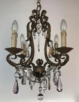 Gilt Bronze Toleware Chandelier with Crystal Droplets (6 of 8)