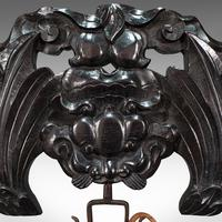 Antique Dinner Gong, Oriental, Ebonised Teak Stand, Chinoiserie, Victorian, 1880 (8 of 12)