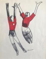 Original Marker Pen Drawing 'Goal!' by Toby Horne Shepherd - Signed & Dated 75 - Provenance; Helen Shepherd (2 of 2)
