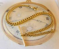 Antique Pocket Watch Chain 1890s Victorian Large 14ct Gold Filled Albert With T Bar (3 of 12)