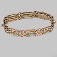Antique Opal Bracelet 9ct Gold Victorian Gate-link Bracelet c.1890 (4 of 9)
