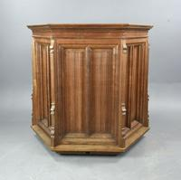 Rare Carved Linenfold Oak Pulpit Reading Chair (6 of 7)