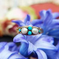 Antique Victorian 15ct Gold Turquoise & Pearl Ring (4 of 9)