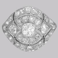 Art Deco 2.5ct Old Cut Diamond Platinum Original 1920's Large Cluster Bombé Ring (2 of 16)