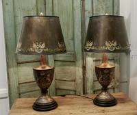 A Pair of Large Bronze Coloured Toleware Table Lamps (3 of 9)