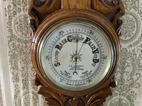 Heavily Carved Oak Mid Victorian Barometer / Thermometer (2 of 4)