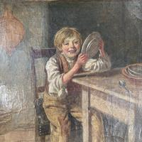 Antique Georgian oil painting study of boy in kitchen scullery with pewter plate (9 of 10)