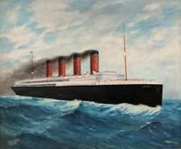Huge Stunning Antique Seascape Oil Painting of Cunard's RMS Lusitania Ship c.1918 (15 of 16)