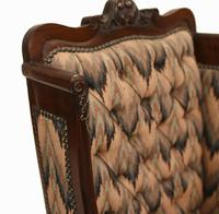 Pair of Victorian Salon Chairs Arm Club Chair Stools (13 of 15)