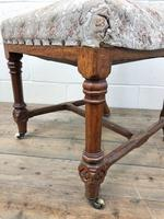 Pair of Antique Victorian Gothic Oak Chairs with Floral Upholstery (4 of 10)