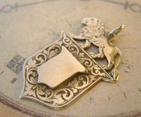 Antique Pocket Watch Chain Fob 1890s Victorian Silver Nickel Lion & Shield Fob (9 of 9)