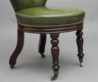 19th Century mahogany & green leather desk chair (8 of 11)