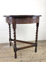 Antique Carved Oak Demi Lune Hall Table (5 of 10)