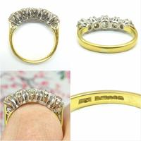 Vintage 18ct Old Mine Cut Diamond Five Stone Ring 1.35ct (7 of 10)
