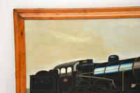 Antique Victorian Oil Painting Steam Locomotive Train (7 of 11)