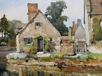 Gorgeous Early 20th Century Country River Hamlet British Landscape Watercolour Painting (7 of 12)