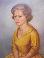Large Oil on Canvas Girl in the Yellow Dress Artist A Wright 1962 (8 of 10)