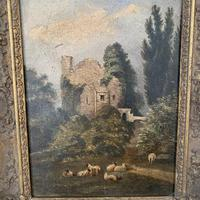 Antique Victorian landscape oil painting study of a ruin with sheep (7 of 10)